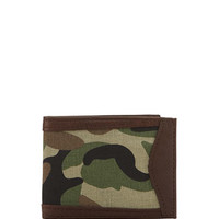Camo Leather Trimmed Billfold, Brown