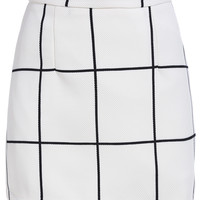 White Plaid Mini Skirt with Back Zipper