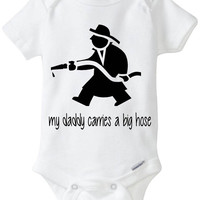 """Funny Baby Gift: Embellished Gerber Onesuit brand body suit - Fireman / FireFighter Baby """"My Daddy Carries a Big Hose"""""""