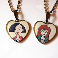 Daria Morgendorffer and Jane Lane - Set of 2 Handmade Vintage Cameo Pendant Necklaces - Best Friends Jewelry