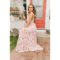Color Coded Floral Halter Maxi Dress (Blush/Red)