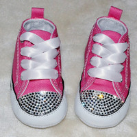 Customised Crystal Pink Low Top All Star Converse Blinged Crystal Toes, Bottoms & Backs, Ribbon Laces Crib Baby UK Size 1, 2, 3, 4