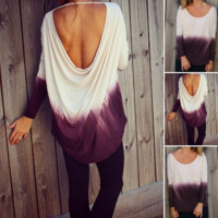 Fashion Casual Gradient Color Hollow Backless Long Sleeve Round Neck T-shirt Tops