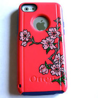 Custom Otterbox Commuter iphone 5C Case Sparkly flower case