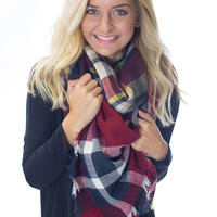 Cuddle Me by the Fire- Red/Navy Blanket Scarf