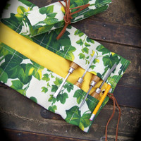 Small Dual Layered Heavy Duty Canvas Tool Roll for Carvers, Crafters, Ivy & Yellow