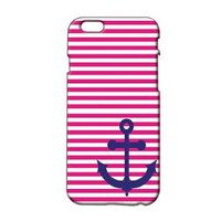Anchor and Red Stripes Plastic Phone Case for Iphone 6