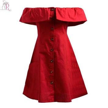 3 Colors Off Shoulder Ruffled Buttoned Up Mini Skater Tube Dress Pockets Casual A Line Sexy Clubwear Streetwear 2016 Summer