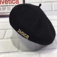Dior Women Casual Hat Fashion Classic Letter Logo Woolen Beret Cap Painter Cap Black