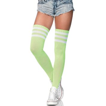 Lime Green and White 3 Stripe Thigh High Socks