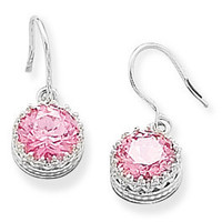Round Pink CZ Crown Set Sterling Silver Earrings