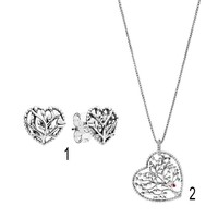 925 Silver Necklaces for Women Tree of Love Necklace Girl Fashion Silver Choker 70cm Chain Gift fit Pandora Jewelry
