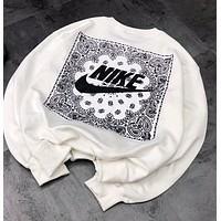 Nike  Fashion customized retro printed crew neck sweater on the back Round Neck Loose Long Sleeve Sweatshirt
