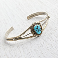 Vintage Sterling Silver Turquoise Bracelet - Native American Style Boho Southwestern Jewelry Cuff / Triple Band Teal