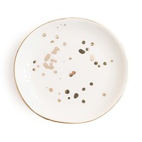 White Gold Speckled Jewelry Dish
