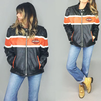 Vintage HARLEY DAVIDSON Leather Cafe Racer Riding Biker Jacket | Size Ladies XXL