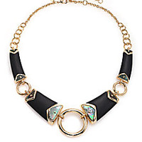 Alexis Bittar - Sport Deco Lucite & Black Mother-Of-Pearl Liquid Ring Bib Necklace - Saks Fifth Avenue Mobile