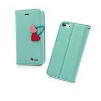 Lovely Candy Color Case Imitated Leather Phone Shell for iPhone 4/4s (mint blue)