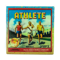 Athlete Oranges Brand - Vintage Citrus Crate Label - Handmade Recycled Tile Coaster