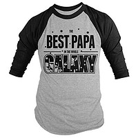 Shirts By Sarah Men's Funny Best Papa In Galaxy Shirt 3/4 Sleeve Raglan Father's Day Space