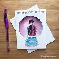 Prince Party Like It's 1999 Happy Birthday Card FREE SHIPPING
