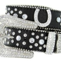 Western Cowgirl Horseshoe Charm Bling Belt with Rhinestone Studded Buckle and Strap (40, Black)
