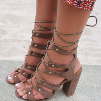 Hot Stride Open Toe Taupe Heels