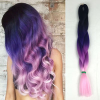 "Dark Purple Light Purle Pink 24"" 5pcs/lot 100g/pc Africa Synthetic Ombre Two Tone Box Braids Ombre Kanekalon Braiding Hair"