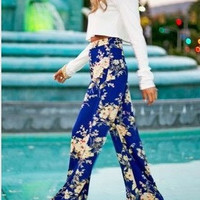Floral Mid-Waisted Wide Leg Pants