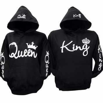 King And Queen Hoodies Pullovers Valentine New Black Colors Matching Cute Love Couples Crown