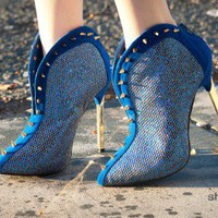 Wild Rose Alger-01 Spiked Pointy Toe Ankle Bootie - Shoes 4 U Las Vegas