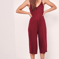 Missguided - Jersey Strappy Plunge Culotte Jumpsuit Red