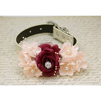 Burgundy Peach Wedding Dog Collar, Floral with pearls and Rhinestone wedding , Wedding dog collar