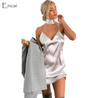 Black Friday Sale [ ENCAI BOUTIQUE ] Satin Slip Sexy Cleavage Dress New Years Eve Dress