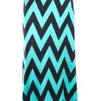 Lolli Couture CHEVRON PRINT WIDE WAIST BAND MAXI SKIRT L teal/black