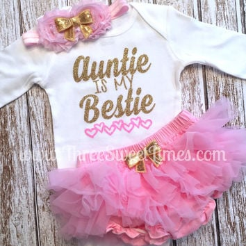 Auntie Is My Bestie Baby Girl Outfit   Baby Shower Gift   Tutu Bloomer   Pink Gold Glitter    Headband   Aunt Godparent