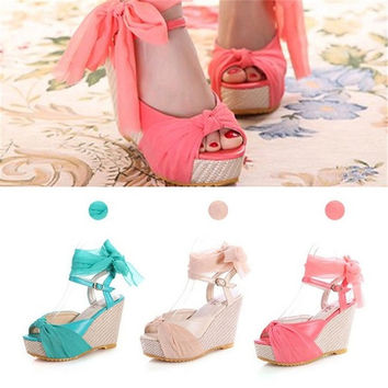 Fashion Ankle Strap Slingback Buckle Bohemian Wedge Sandals High Heel Shoes