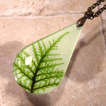 Stair Step Moss (Hylocomium splendens) aka Mountain Fern Moss Necklace, bryophyte, Woodland, rustic, nature,  plant jewellery