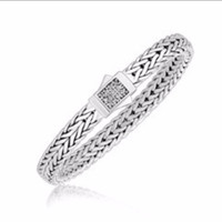 Braided Design White Sapphire Accented Men's Bracelet