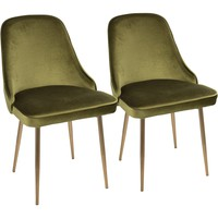 Marcel Contemporary Dining Chairs with Green Velvet, Gold (Set of 2)