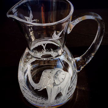 Hand Engraved Elephant Pitcher