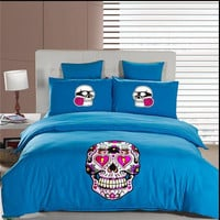 New Arrive skull bedding duvet cover Blue  Bedding Sets King queen Green Boys duvet cover flat sheets and bed sets