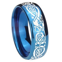8mm Celtic Knot Dragon Dome Blue Tungsten Carbide Anniversary Ring