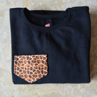 Giraffe Pocket Crewneck Sweatshirt