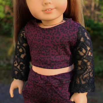 18 inch doll clothes, black, lace sleeve crop top , animal print, crop top and animal print jeggings