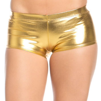 Faux Booty Shorts Gold