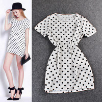 Polka Dots Short Sleeves A-Line Mini Dress