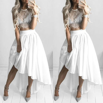Lace Top & Irregular Maxi Skirt