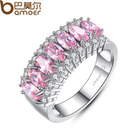 BAMOER White Gold Filled Pink Sapphire Finger Ring Lady's 10KT Finger Rings 2015 Fashion Jewelry YIR050