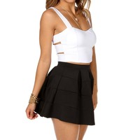 Sale- White Bar Side Crop Top